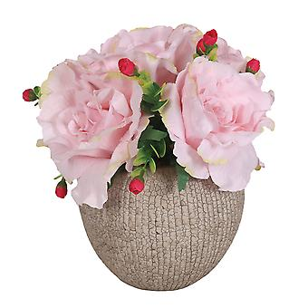 Pink Roses in Decorative Round Pot