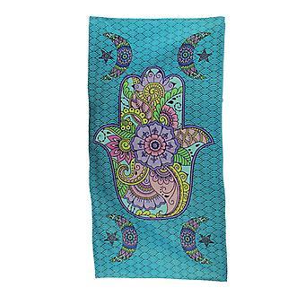 Colorful Hamsa Hand Crescent Moon Blue Beach Towel