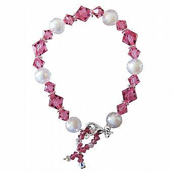 Al seno cancro consapevolezza Bracciale cristalli Swarovski Perline d'argento