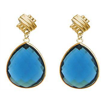 Gemshine Ohrringe blaue Topas Quarz Edelstein Tropfen 925 Silber oder vergoldet