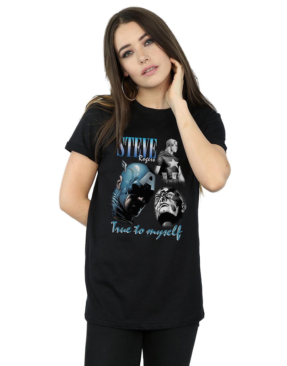 Marvel Women's Steve Rogers Homage Boyfriend Fit T-Shirt