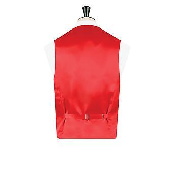 Dobell Boys Red Victorian Jacquard Waistcoat Regular Fit