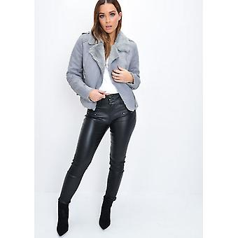 Suede Look Faux Fur Lined Crop Biker Jacket Grey