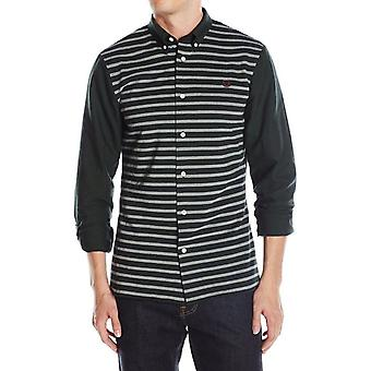 Fred Perry Men's Pique Stripe Oxford Long Sleeve Shirt