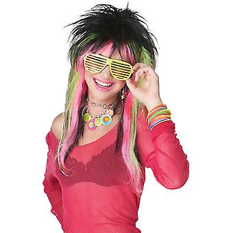 Rave Candy 80s zwart Lime roze gelaagde vrouwen kostuum pruik