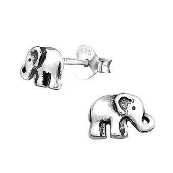 Sterling Silver Elephant Stud Earrings