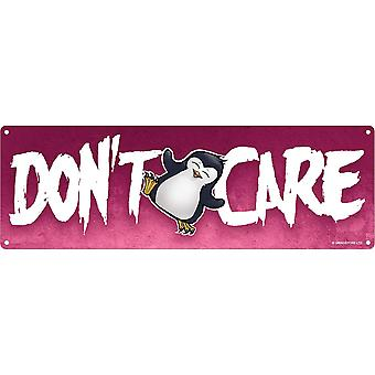 Psycho Penguin Don`t Care Slim Tin Sign