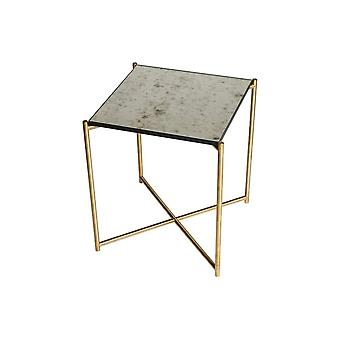 Gillmore Antiqued Glass Square Side Table With Brass Cross Base