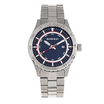 Breed Mechanic Bracelet Watch w/Date - Navy
