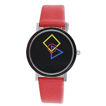 Aristo Bauhaus Ladies Watch Stainless Steel 4D86R Leather Red