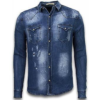 Denim Shirt - Nail Slim Fit Long Sleeve - Vintage Look - Blue