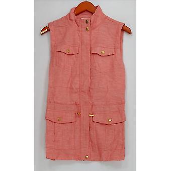 Liz Claiborne New York Women's Vest Zip Front Linen Pink A254860
