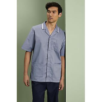 Simon Jersey Men's Healthcare Tunic - Hospital Grey With White Trim