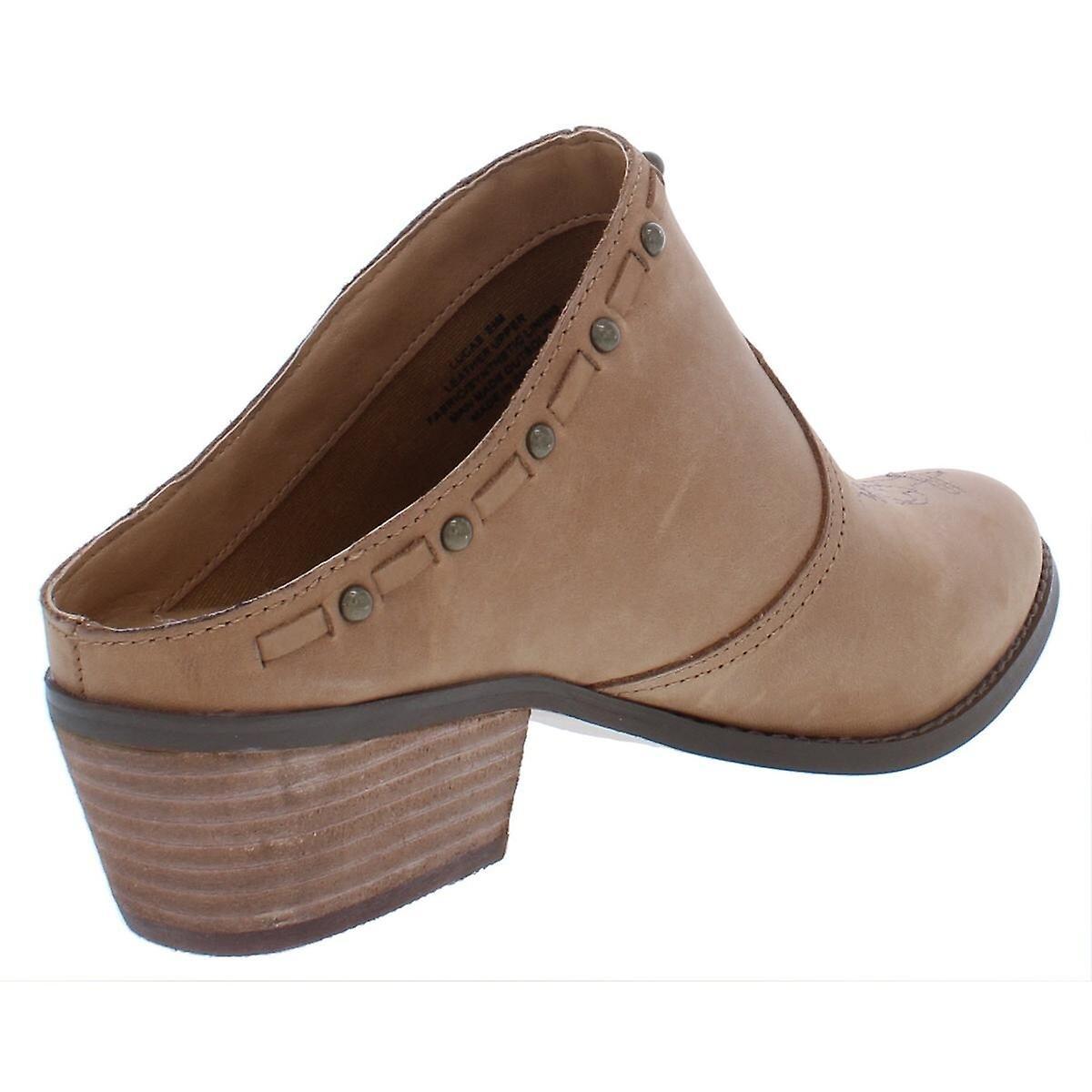 Gul boks kvinner Lucas skinn mandel tå casual Slide sandaler