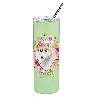 Rot sibirische Husky grüne Blumen Doppel wandgebunden Edelstahl 20 oz dünne Tumb