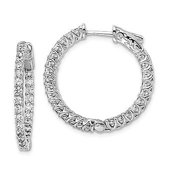 925 Sterling Silver Polished Prong set Hinged hoop Safety clasp Rhodium plated CZ Cubic Zirconia Simulated Diamond Round