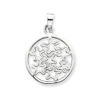 925 sterling sølv solid polert sirkel med stjerner anheng halskjede smykker gaver til kvinner