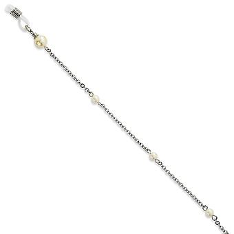 Cultura Glass Pearl Eyeglass Holder Silver tone Necklace 30 Inch Chain Jewelry Gifts for Women