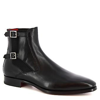 Leonardo Shoes Men's handmade double monk ankle boots in black calf leather