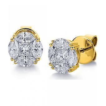 Diamond stud earrings - 18K 750 yellow gold - 1.41 ct.