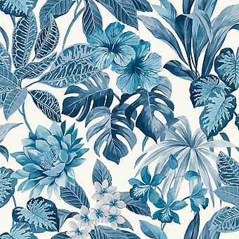 Tropica Rainforest Palm Leaf Floral Wallpaper Flower Blue White Fine Decor