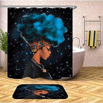 Blue Afro Beautiful Girl Shower Curtain