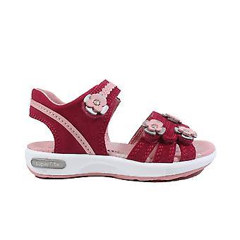 Superfit 09133-50 Pink Nubuck Leather Girls Rip Tape Sandals