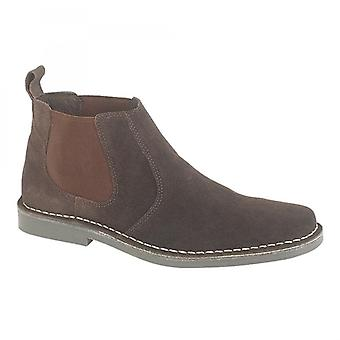 Roamers Jason Mens Twin Gusset Suede Leather Chelsea Boots Dark Brown