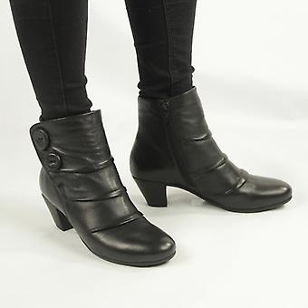 Cipriata Emma Ladies Leather Button Zip Up Ankle Boots Black