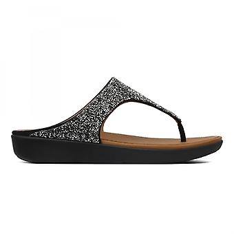 FitFlop Banda Ii Quartz Ladies Toe Post Sandals Black