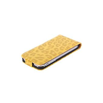 Luxury Cover Leopard Yellow Opening Vertical For IPhone 5