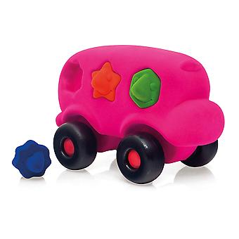 Rubbabu Shape Sorter Bus (Roze) Educatieve Early Learning Kids Speelgoed Push Along