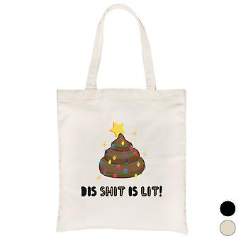 Dis Shit Is Lit Poop Funny Christmas Canvas Bag Gift Idea