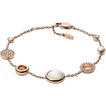 Fossil Jewelry Bracelet JF02959791 - White Mother-of-Pearl Bracelet Synth Ticks Crystals Transparent Women