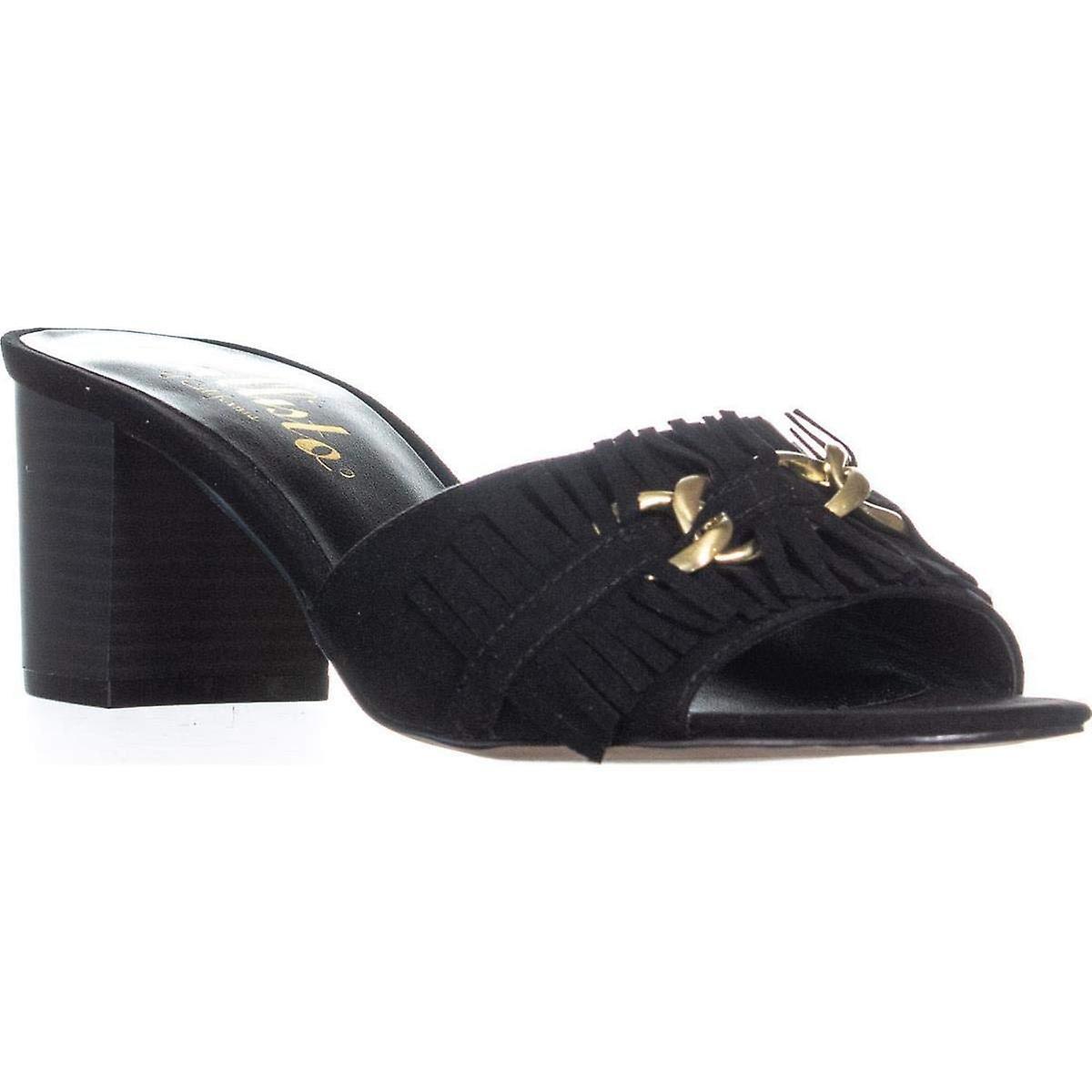 Callisto Taaj Tassel Chain Block Heel Sandals, Nero, 9 US