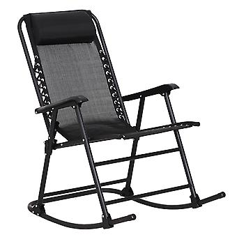 Outsunny Garden Rocking Chair Folding Outdoor Adjustable Rocker Zero-Gravity Seat with Headrest Camping Fishing Patio Deck - Black