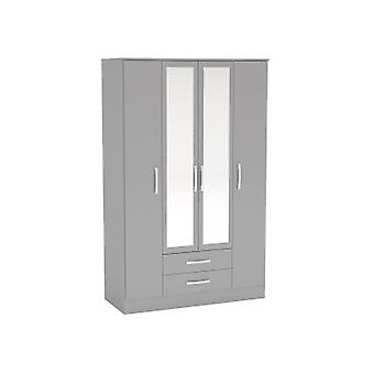 LYNX 4 DOOR 2 DRAWER WARDROBE WITH MIRROR GREY