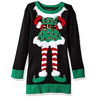 Blizzard Bay Girls Ugly Chrismas Sweater Tunic, Black/Green/elf, 4