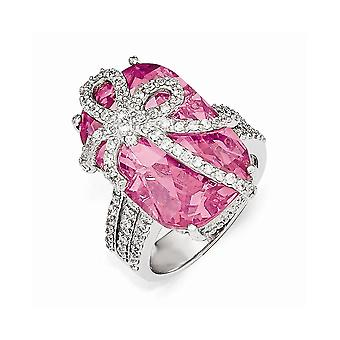 Cheryl M 925 Sterling Silver Pink and White CZ Cubic Zirconia Simulated Diamond Bow Ring Jewelry Gifts for Women - Ring