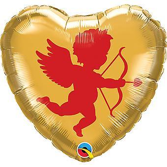 Qualatex 18 Inch Cupid Silhouette Heart Micro Foil Balloon