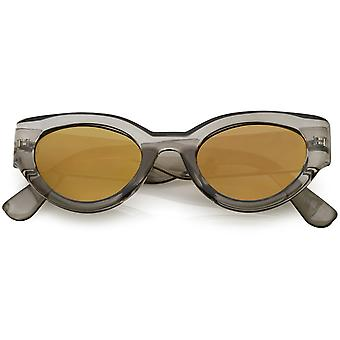 Bold Wide Arms Gruba rama Cat Eye Okulary płaskie owalne lustrzane obiektyw 49mm