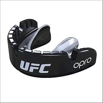 Opro ufc gold braces mouth guard black metal/silver