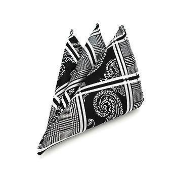 Black & white paisley & tartan stripe pocket square