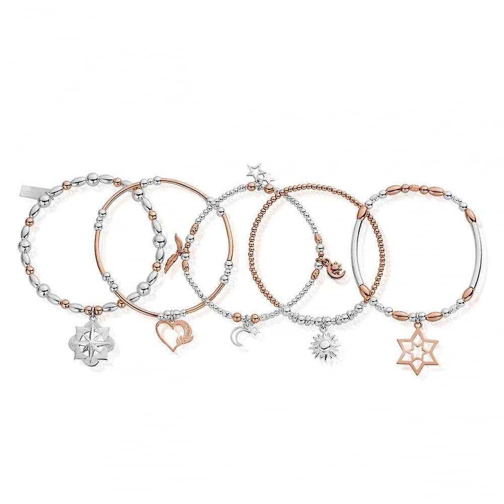 ChloBo Silver & Rose Gold Inner Spirit Set Of 5 Bracelets