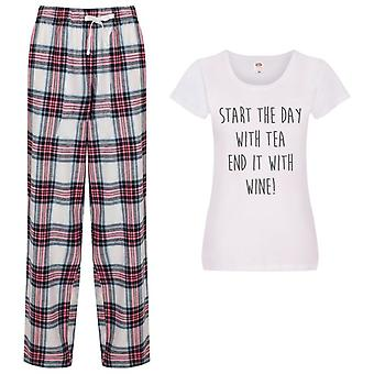 Start The Day With Tea End It With Wine Tartan Trouser Pyjamas