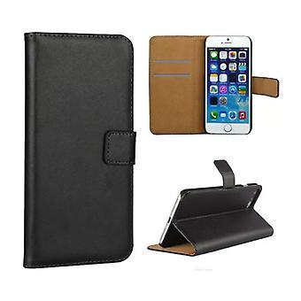 Stuff Certified® iPhone 5 5S SE - Wallet Flip Case Cover Cas Case Portefeuille Noir