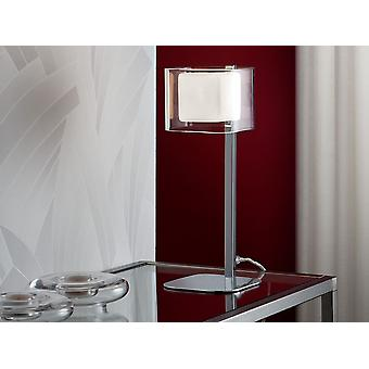 Schuller Cube - Table lamp of 1 light made of metal, chrome finish. Double glass shade of molded glass, exterior in clear and interior in opal glass. Plug type G (UK). - 183542UK