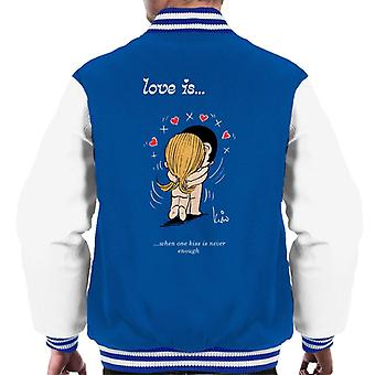 Love Is When One Kiss Is Never Enough Men's Varsity Jacket
