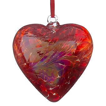 Sienna Glass 8cm Friendship Heart, Red
