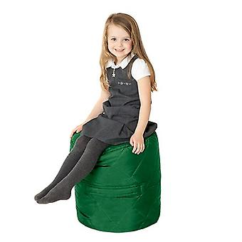 Fun!ture Quilted Round Kids Bean Bag | Outdoor Indoor Living Room Childrens Cylinder Beanbag Seating | Water Resistant | Vibrant Play Kids Colour Seat | High Quality & Comfy (Green)